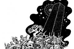 Winterwald: schwarzer Monolith